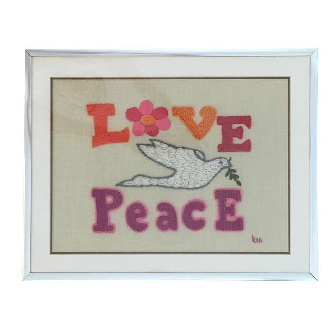 Love & Peace Framed Embroidery - Image 1 of 8