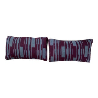Featured in The 2020 San Francisco Decorator Showcase — Custom Teal & Maroon Ikat Throw Pillow - Set of 2 For Sale