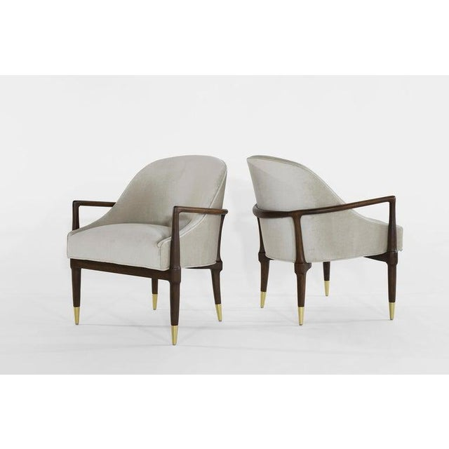 Metal Mid-Century Modern Walnut Lounge Chairs - a Pair For Sale - Image 7 of 13