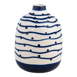 Navy Wave with Dots Vase For Sale