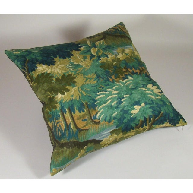 Contemporary Verdure Print Linen Pillow Cover For Sale - Image 3 of 8