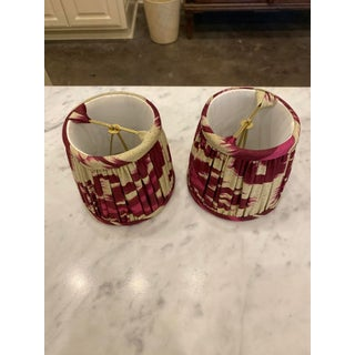 Custom Lamp Shades in Cranberry Ikat Fabric - Pair Preview