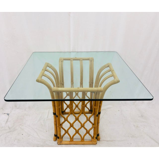 Rattan & Glass Table For Sale In Raleigh - Image 6 of 10