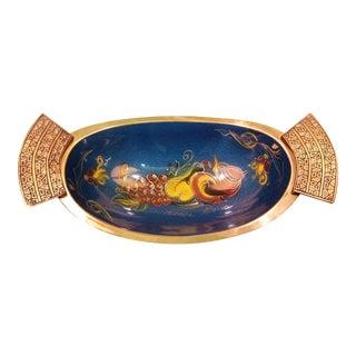 Israel Brass & Blue Enamel Fruit Bowl For Sale