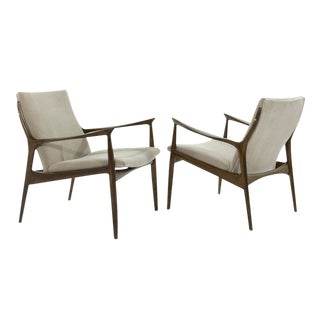 Scandinavian Modern Lounge Chairs in Mohair by Ib Kofod-Larsen - a Pair For Sale