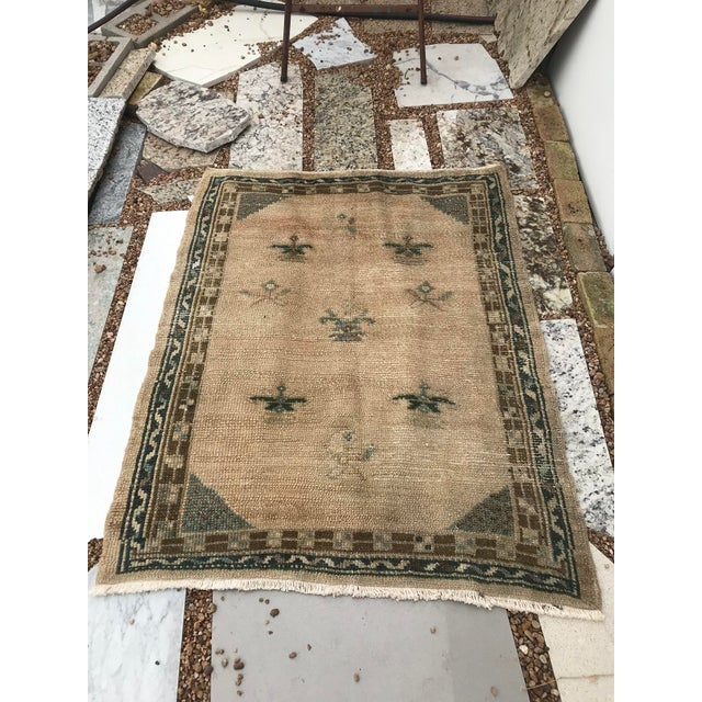 """Hand Made Vintage Turkish Area Rug- 3'3""""x4'2' For Sale - Image 6 of 10"""