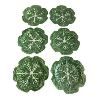 Set of 6 Bordallo Pinheiro Green & White Majolica Style Cabbage Dinner Plates For Sale