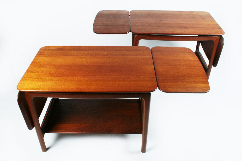 A Beautiful Pair Of Teak Side Tables Or Occasional Tables Comprised Of  Double Drop Leaf Tabletops
