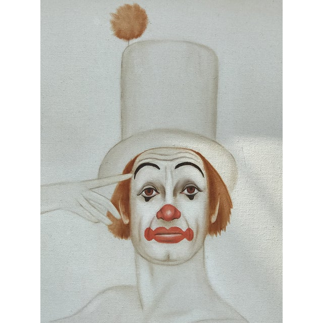 Carnival Original 20th Century Tangerine Clown Painting For Sale - Image 3 of 8