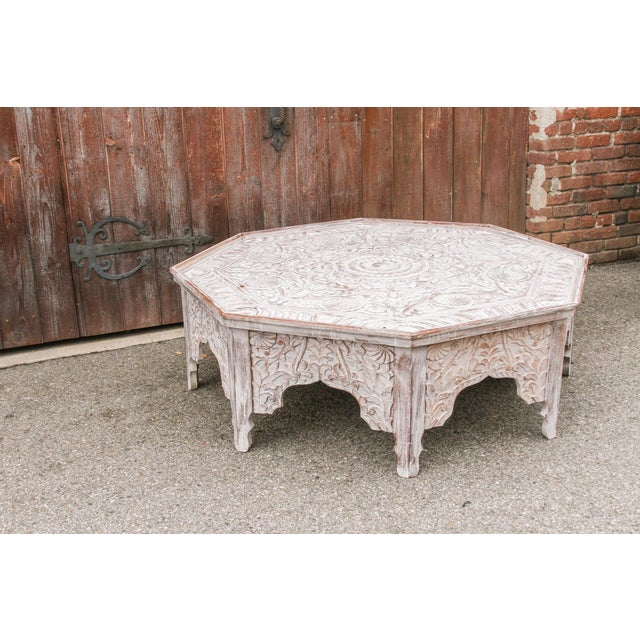 Brown Grand White-Washed Moorish Carved Octagonal Coffee Table For Sale - Image 8 of 9