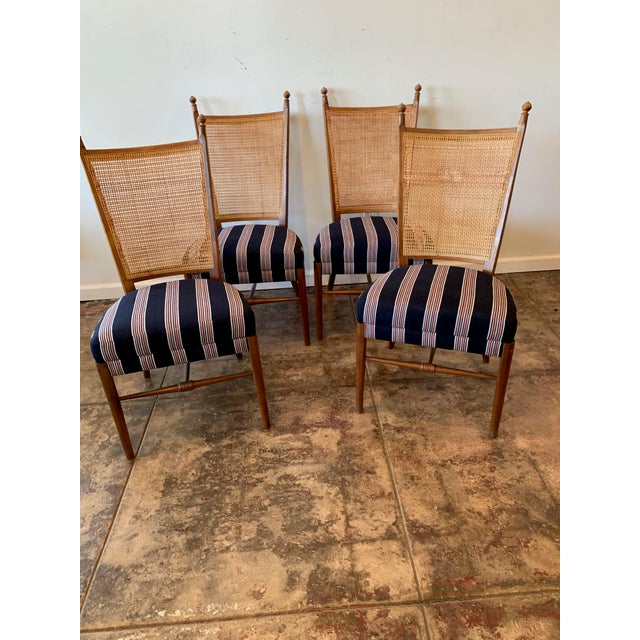 Brown Vintage French Cane Back Chairs With Upholstered Seats - Set of 4 For Sale - Image 8 of 8