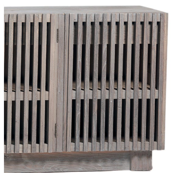 Raw wood sideboard with lattice cabinet front. This cabinet is unique in style and works great as a media cabinet or for...