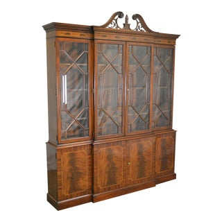 Karges Flame Mahogany English Regency Traditional Style Breakfront For Sale
