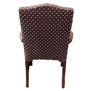 Brown With Cream Mohair Polka Dots Upholstered Arm Chair Preview