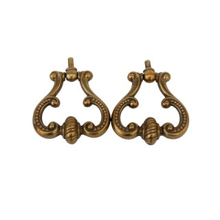 French Brass Drawer Pulls, a Pair For Sale