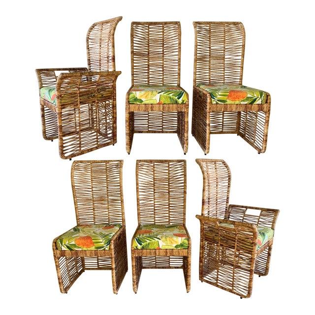 Rattan Jute Rope Wrapped Dining Chairs, Set of 6 For Sale