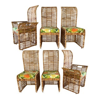 Rattan Rope Wrapped Dining Chairs, Set of 6 For Sale