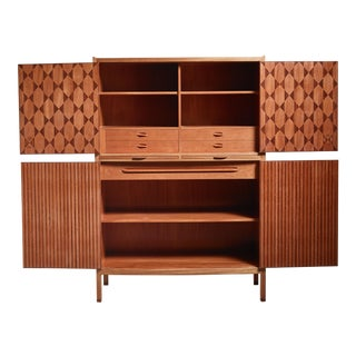 Signed 1950s David Rosen Teak Cabinet For Sale