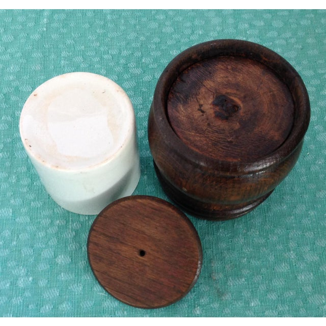 The French used these charming wooden jars with ceramic cup liner to store their loose tobacco. All pieces are unblemished...