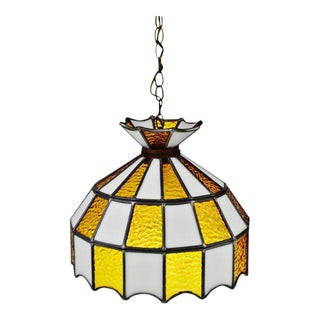 Mid Century Stained Glass Amber and White Glass Swag Pendant Chandelier For Sale