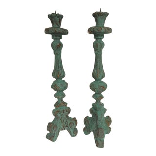 Antique Style Large Candle Holders - A Pair For Sale