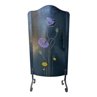 Art Deco Metal Fire Screen Floral With Enameled Purple and Yellow Flowers For Sale