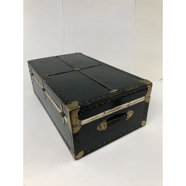 Black Vintage Vulcanized Black Steamer Trunk With Tray For Sale - Image 8 of 12