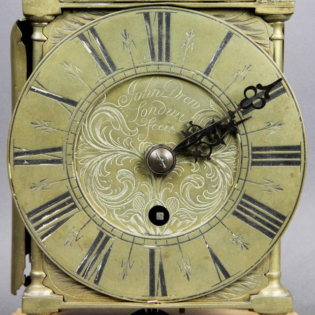 Traditional William and Mary Brass Lantern Clock by John Drew, London For Sale - Image 3 of 10