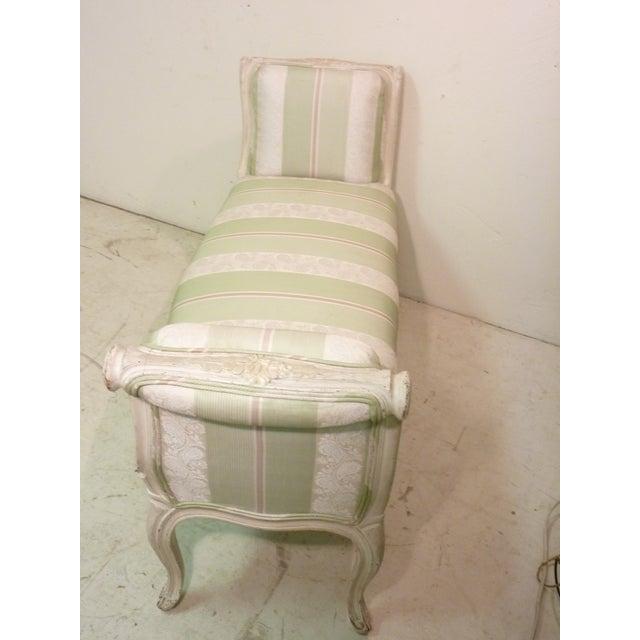 French Whitewashed & Upholstered Window Bench - Image 3 of 4