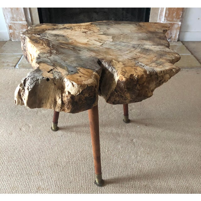 Live Edge Coffee Table Burl Wood Mid Century Style For Sale In New York - Image 6 of 11