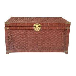 Vintage Rattan Trunk Woven Wicker Blanket Chest Chinese Brass Hardware 32""
