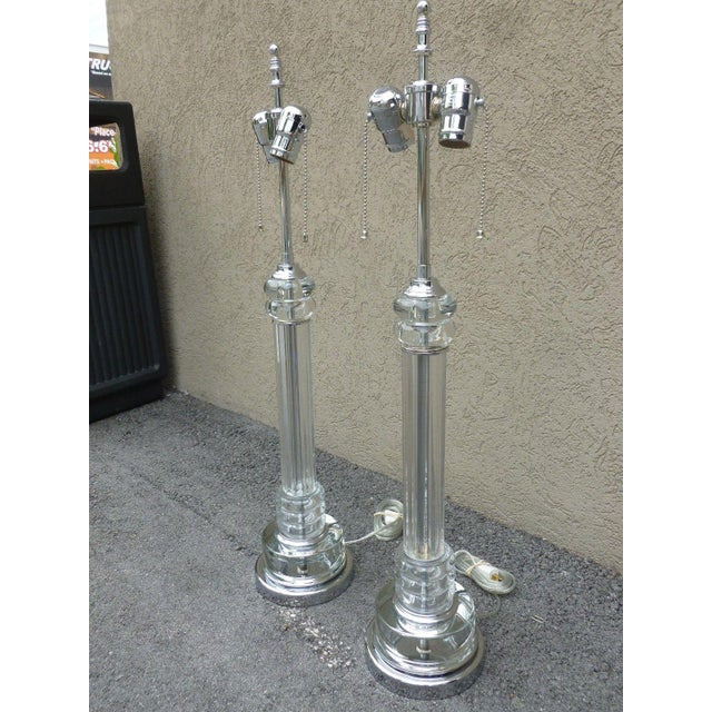 Mid-Century Modern 1930's Vintage Art Deco Tall Tubular Glass and Chrome Lamps- A Pair For Sale - Image 3 of 8