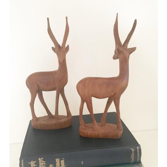 Mid-Century Wood Gazelles - A Pair - Image 5 of 5