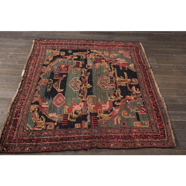 Antique hand-knotted Persian Bidjar. Very Good condition. Low pile.