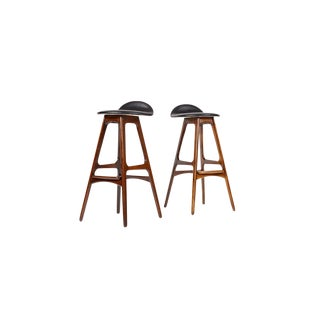 1960s Vintage Erik Buch for Od Mobler Danish Modern Rosewood Barstools - A Pair For Sale