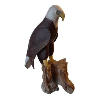 Mid 20th Century Folk Sculpture of Bald Eagle For Sale