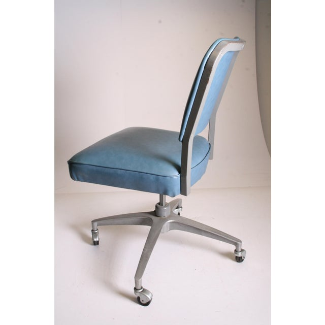 Mid Century Modern Blue Vinyl Swivel Office Chair - Image 3 of 11