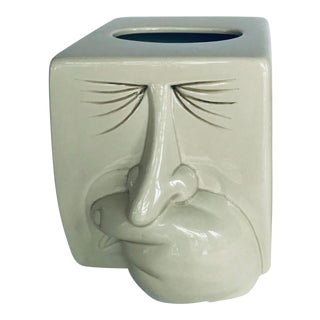 1980 Vintage Fitz and Floyd Postmodern Porcelain Sneezing Tissue Box Cover For Sale