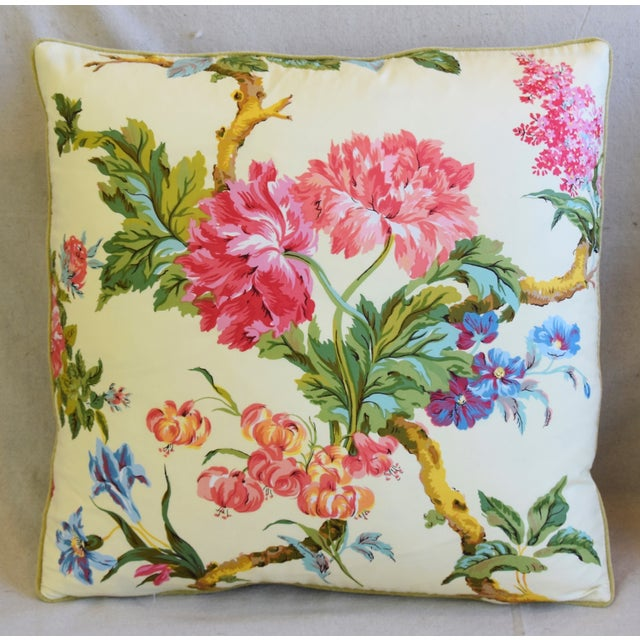 """English Traditional French Brunschwig & Fils Floral Feather/Down Pillows 21"""" Square - Pair For Sale - Image 3 of 13"""
