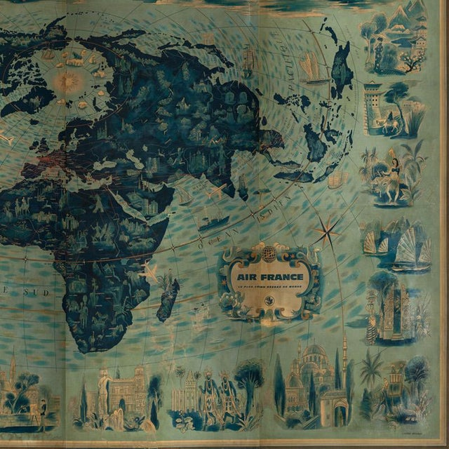 Four Reproduction Vintage Panels of Air France World Map For Sale - Image 4 of 5