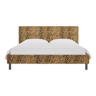 California King Tailored Platform Bed in Leopard For Sale