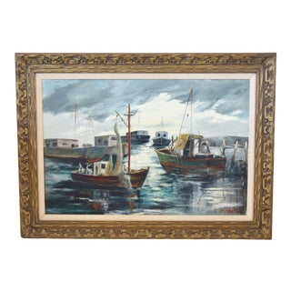 M. Pichard, Boats in San Pedro, California Harbor Oil Painting on Canvas For Sale