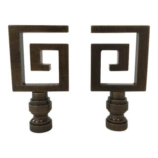 Bronze Greek Key Lamp Finial - a Pair For Sale
