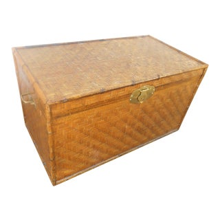 Extra Large Bamboo & Herringbone Woven Wicker Trunk or Coffee Table