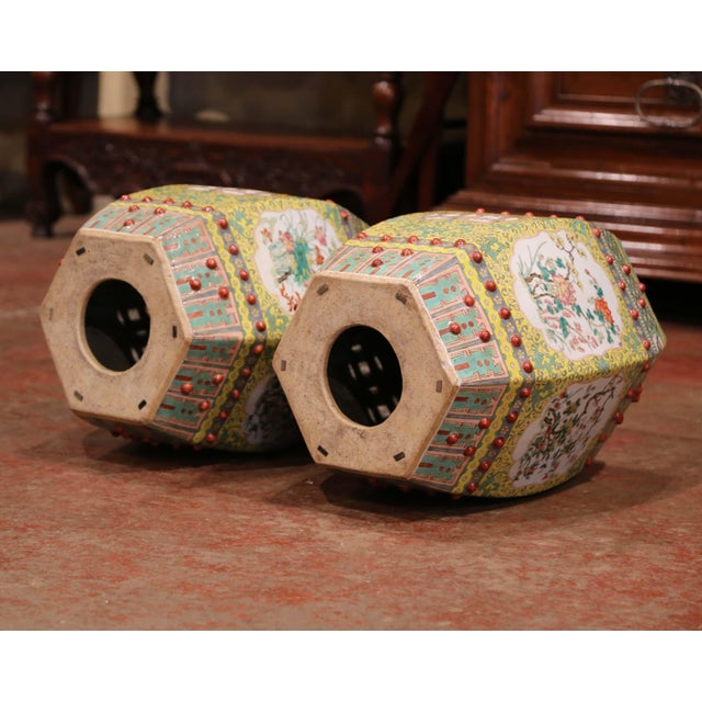 Ceramic Mid-20th Century Chinese Porcelain Garden Stools With Floral and Foliage - a Pair For Sale - Image 7 of 9