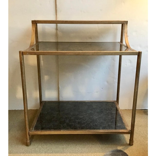 Metal Modern Reverse Painted Glass Bar Table For Sale - Image 7 of 7