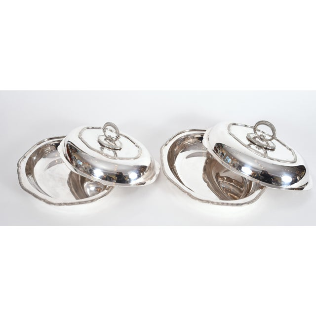 Silver Vintage English Silver Plated Tableware Serving Dishes - a Pair For Sale - Image 8 of 12