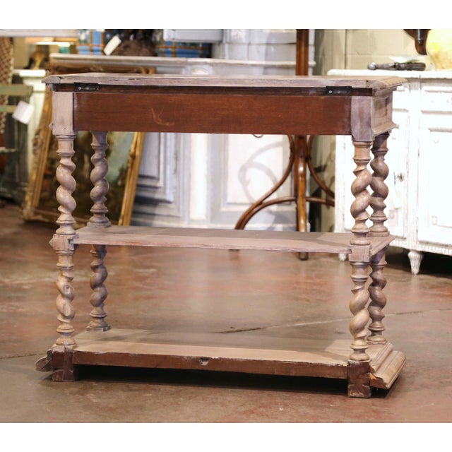 19th Century French Henri II Carved White Washed Oak and Marble Sideboard Server For Sale - Image 11 of 13