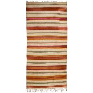 Vintage Tribal Boho Chic Berber Moroccan Kilim For Sale