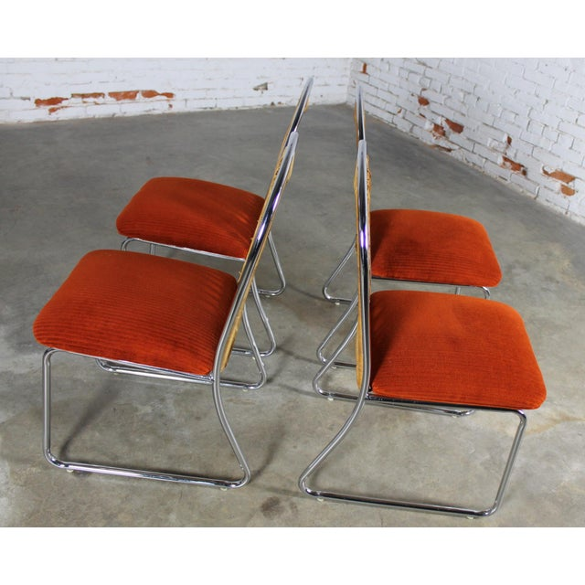 Orange Daystrom Mid-Century Glass & Chrome Table With Chrome & Wicker Chairs - Set of 5 For Sale - Image 8 of 11